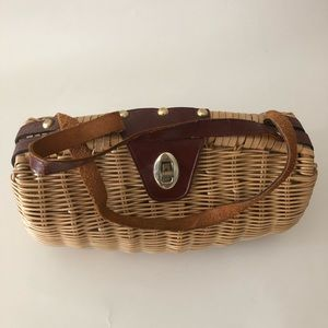 Vintage rattan handbag authentic 50's